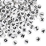 Naler 1200 Stück Buchstabenperlen 6 mm Rund Alphabet Spacer Perlen für Schmuck...