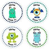 Papierdrachen 24 individuelle Aufkleber für Kinder - Motiv Monster -...