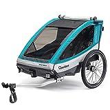 Qeridoo Sportrex2 Basic Kinder-Fahrradanhänger für 2 Kinder (mit Einstellbarer...