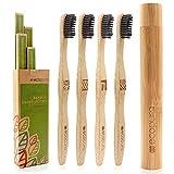 ecopura® Bambus Zahnbürsten, 4er Set Holzzahnbürste mit Etui, Nachhaltig,...