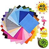 40 Stück Filzstoff, Bastelfilz Set mit Sortierte Farben Vliesstoff Filz...