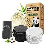 24 Stück Abschminkpads Waschbar, Wiederverwendbare Wattepads aus Bambus und...
