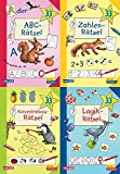 Lernspiele für den Schulanfang (4x1 Exemplar): ABC-Rätsel - Zahlen-Rätsel -...
