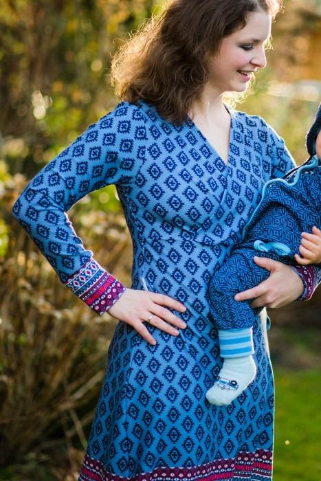 Damen blaues Kleid nähen