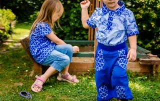 Blaue Geschwister Kombi nähen für Junge und Mädchen