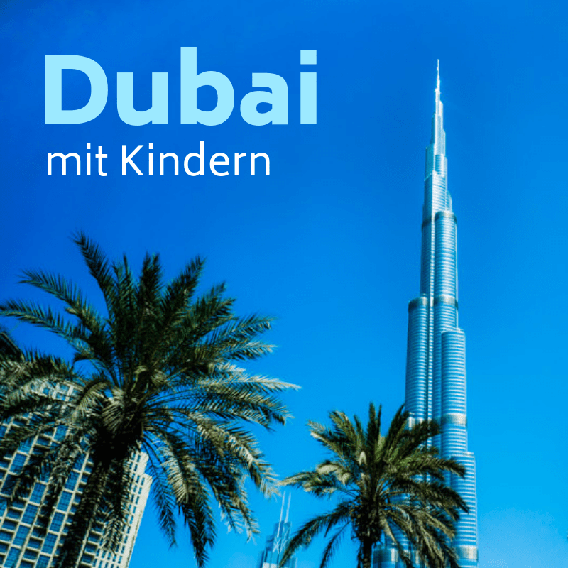 Burj Khalifa und Palmen in Dubai
