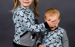 Geschwister Kombi nähen: Panda Pullis