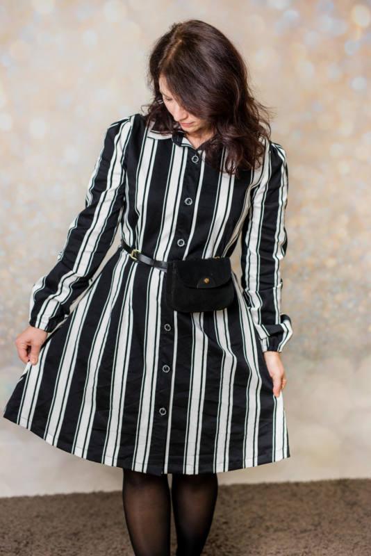 Schwarz weißes Kleid naehen 007