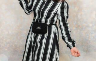 Gestreiftes Hemdblusenkleid mit Puffärmeln nach Schnittmuster Dolores