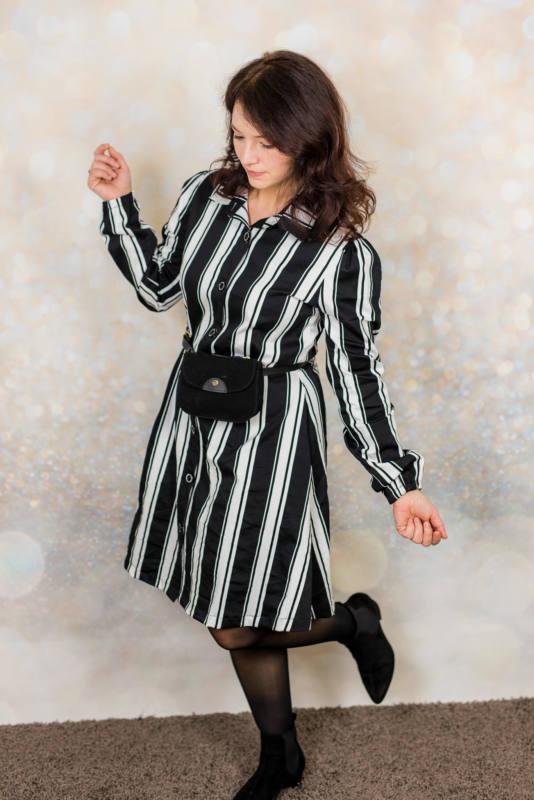 Schwarz weißes Kleid naehen 010