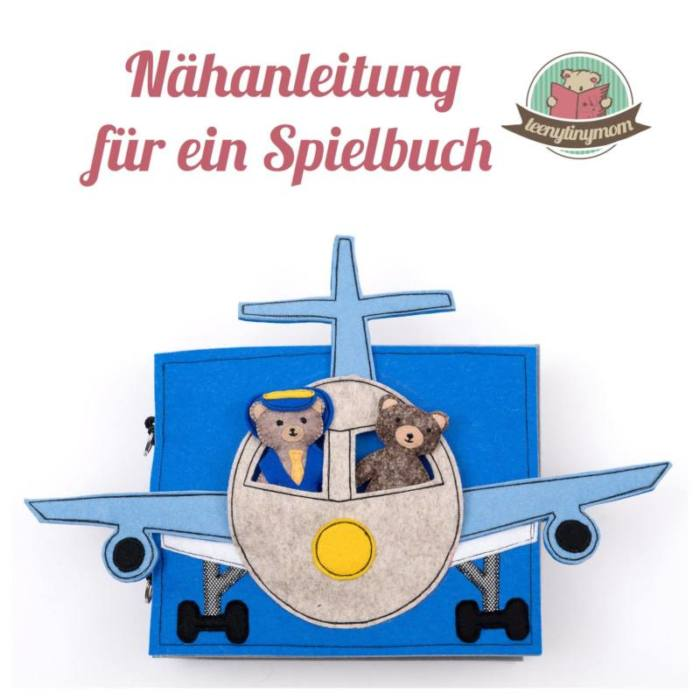 Quiet book naehen Teddy Flugzeug 2