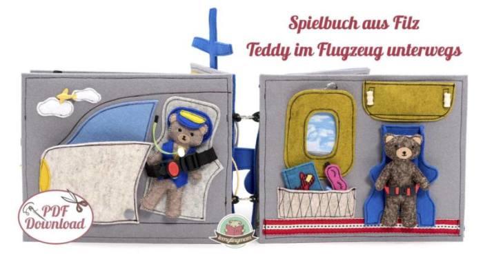 Quiet book naehen Teddy Flugzeug 5