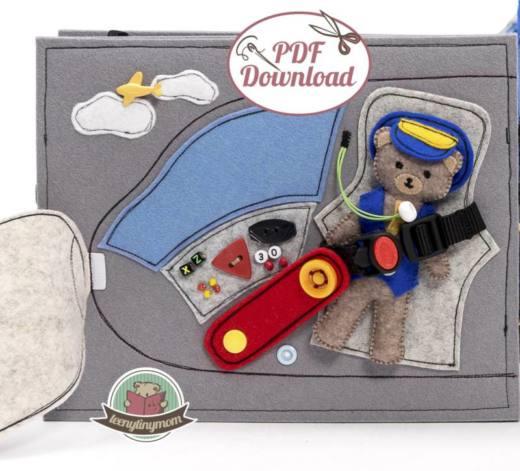 Quiet book naehen Teddy Flugzeug 6