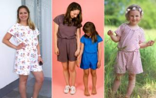 Kurzen Jumpsuit nähen - Schnittmuster Jumpsuit LOMPAT für Damen und Kids