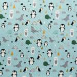 Baumwolljersey Pinguinparty – mint