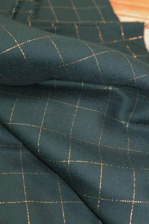 tissu-serge-carreaux-vert-fonce-lurex-dore