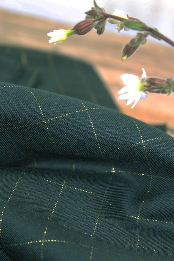 tissu-serge-carreaux-vert-fonce-lurex-dore2